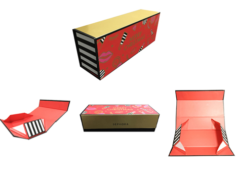 Foldable cosmetic gift set box