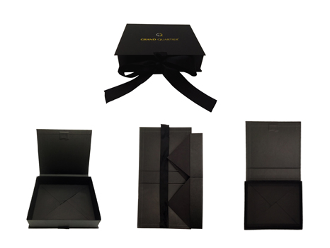 Black folding gift box with Ribbon