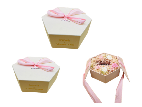 Hexagon flower Box with ribbon closure